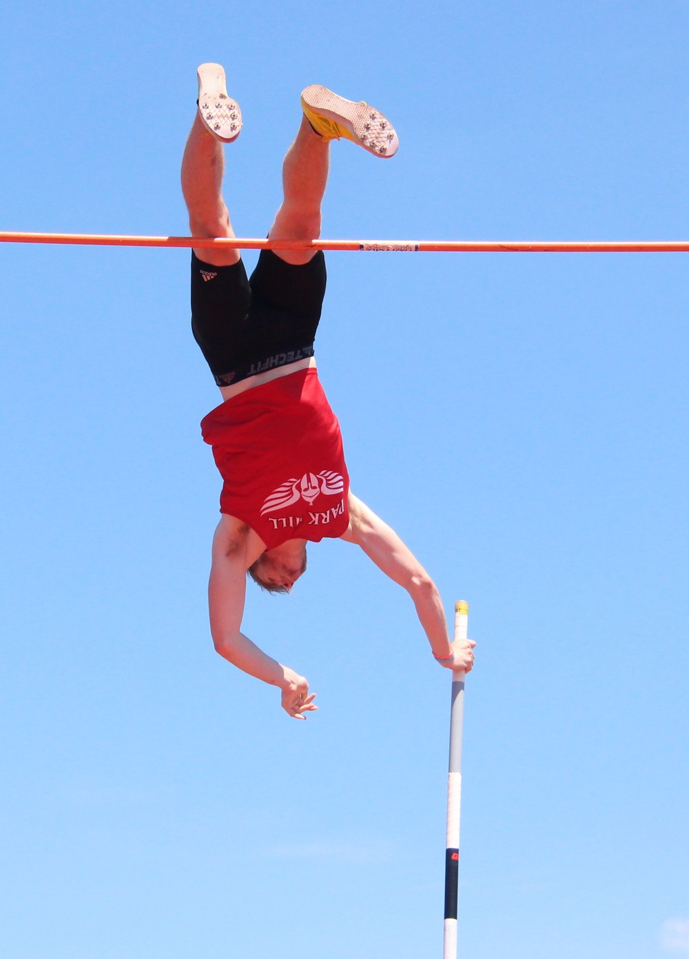 ROSS MARTIN/Citizen photo Park Hill senior Chris Nilsen clears 18 feet, 4 3/4 inches in the Class 5 Sectional 4 pole vault competition Saturday, May 21 at North Kansas City District Activities Complex in Kansas City, Mo. The vault set a new national high school record.