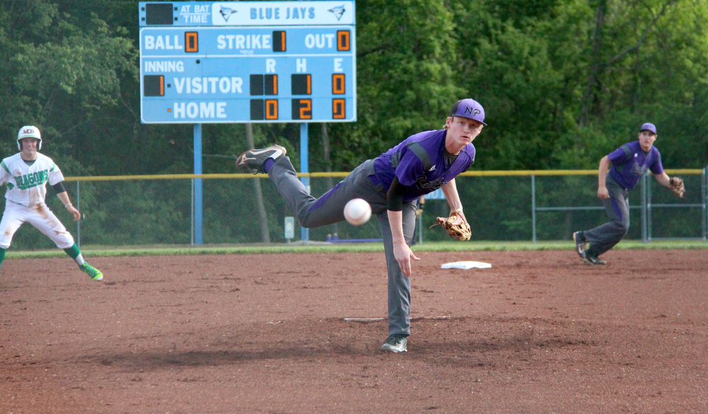 ROSS MARTIN/Citizen photo North Platte senior pitcher Andrew Roberts follows through on a delivery during a Class 2 District 16 semifinal game against Mid-Buchanan on Wednesday, May 18 at Benner Park in Weston, Mo.