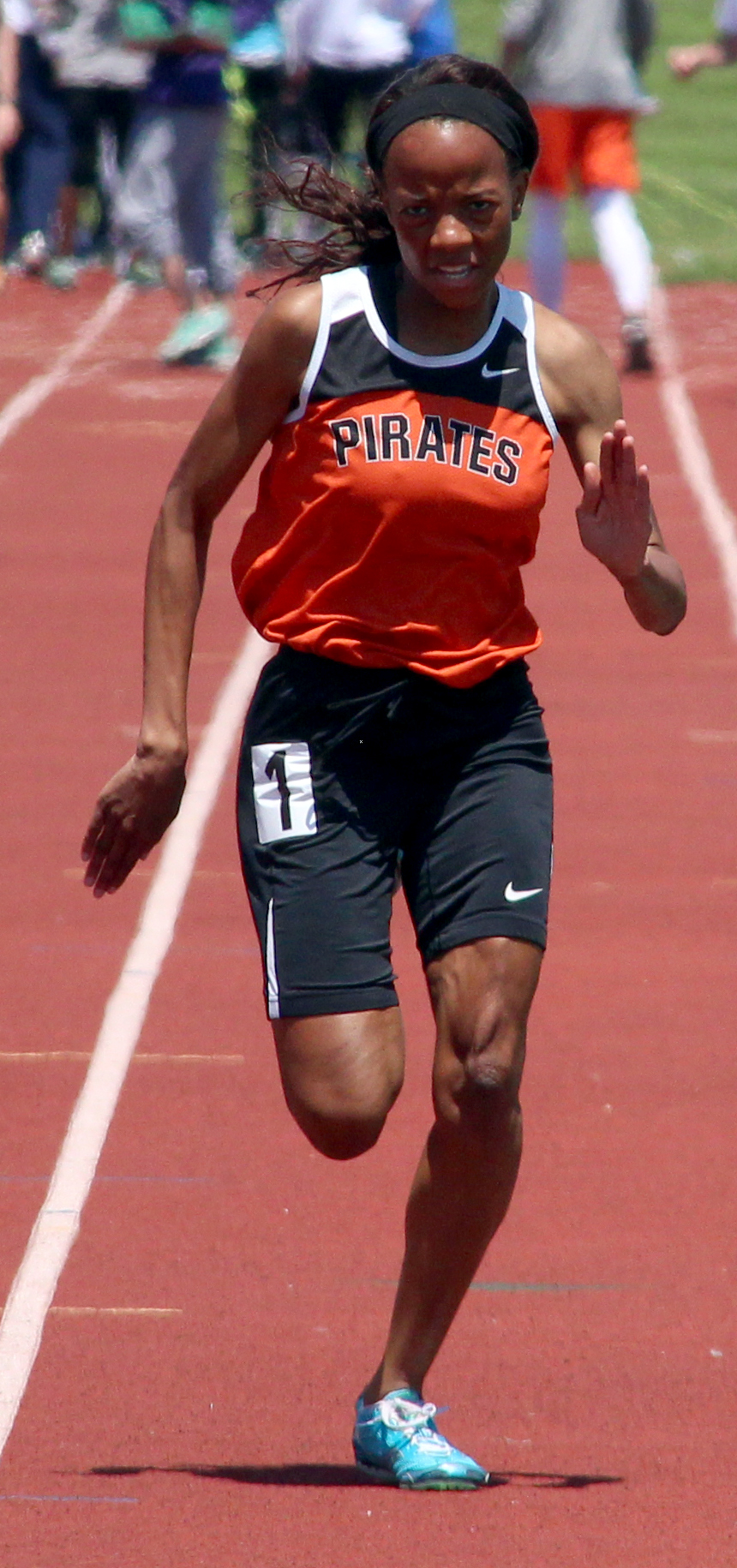 ROSS MARTIN/Citizen photos Platte County senior Hilary Mathurin competes in the 100.