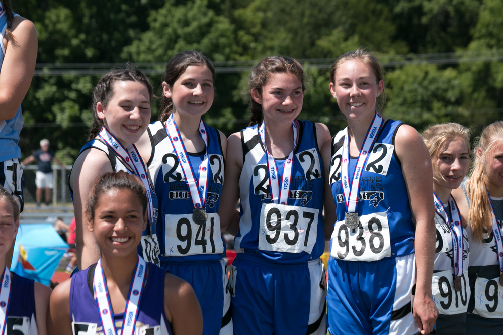 CHRIS AUCKLEY/Special to The Citizen West Platte's 4x800-meter relay team of (from left to right) sophomore Sikoya Richard, freshman Lea Moose, freshman Lindsay Goodwin and sophomore Rachel Heili received their second-place medals Saturday, May 21 during the Class 2 Missouri State Track and Field Championships at Jefferson City High School in Jefferson City, Mo.