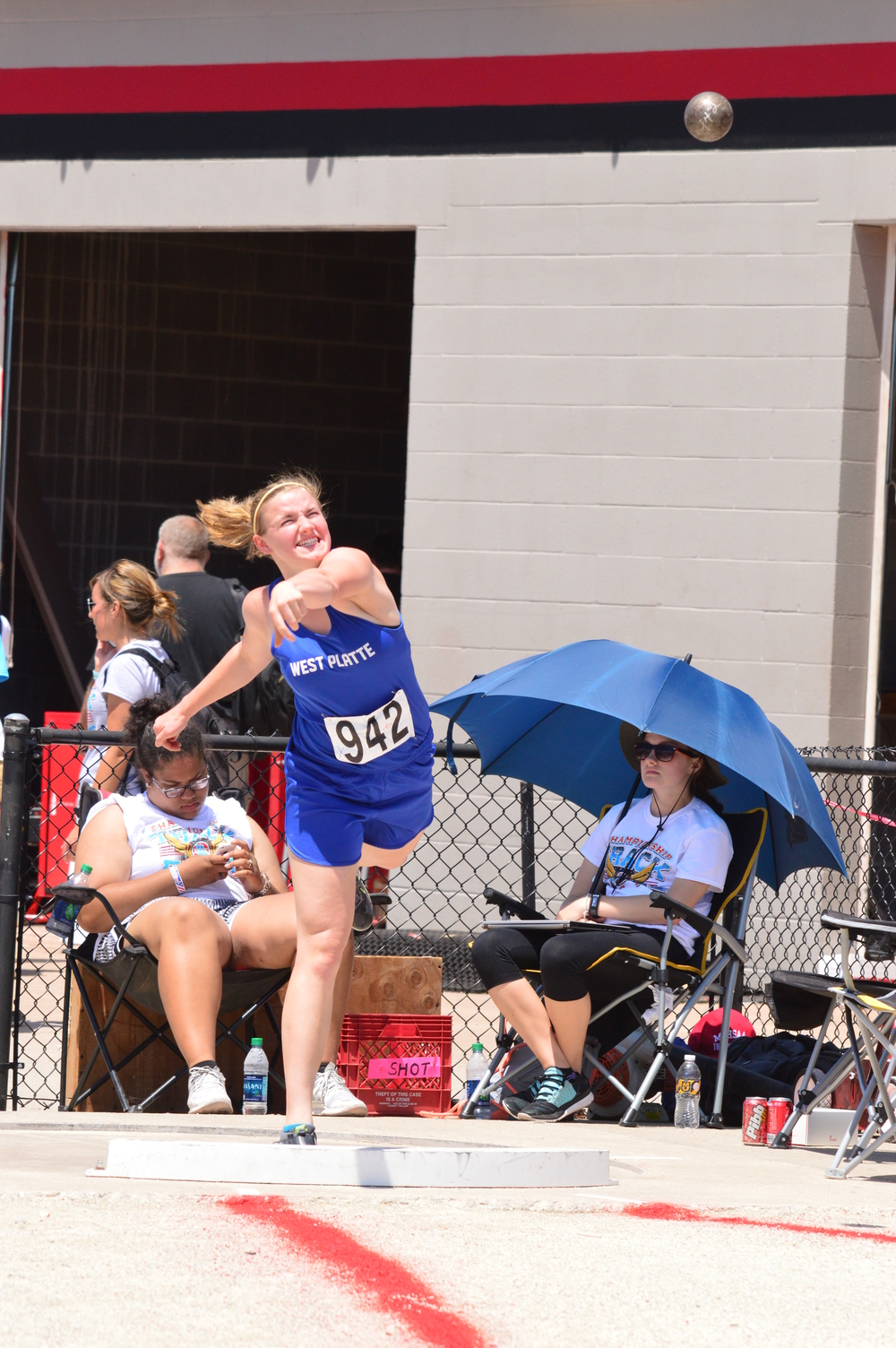 KERN SORRELL/Special to The Citizen West Platte junior Sydney Oberdiek heaves the shot put Saturday, May 21 during the Class 2 Missouri State Track and Field Championships at Jefferson City High School in Jefferson City, Mo.
