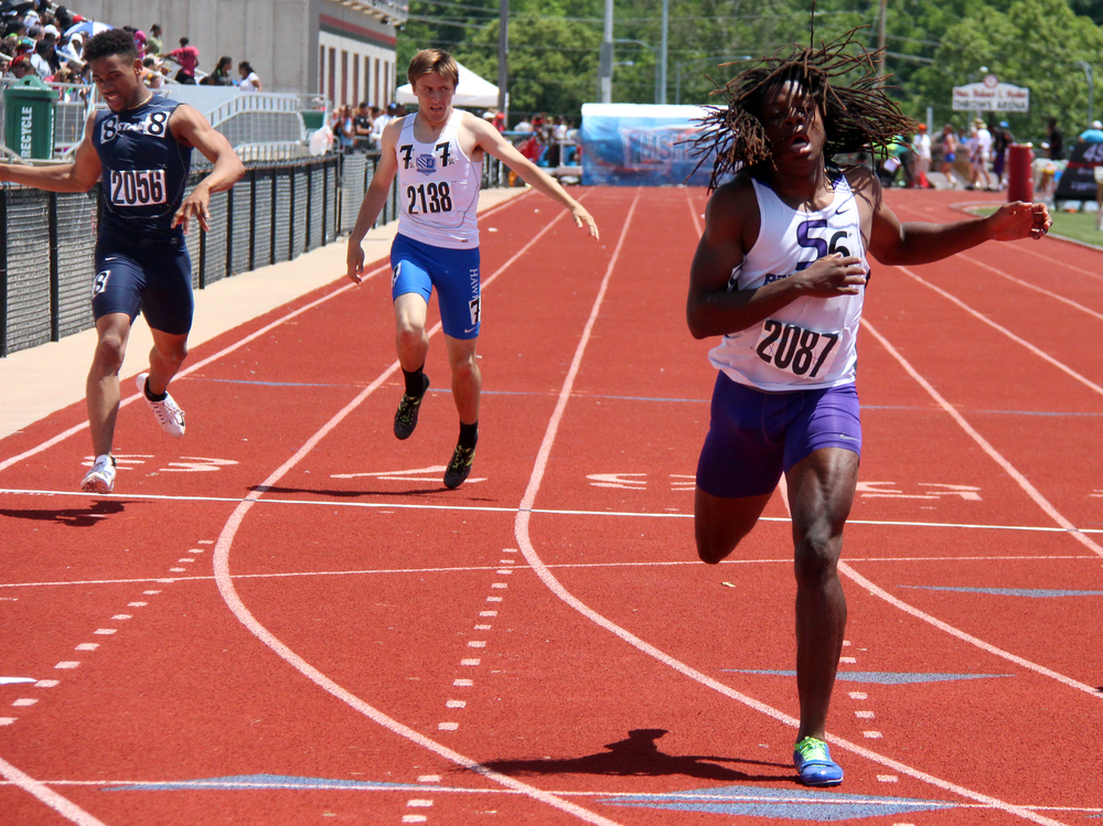 ROSS MARTIN/Citizen photo Park Hill South junior Nylo Clarke lunges to the finish line of the 400-meter run Saturday, May 28 during the Class 5 Missouri State Track and Field Championships at Adkins Stadium in Jefferson City, Mo.