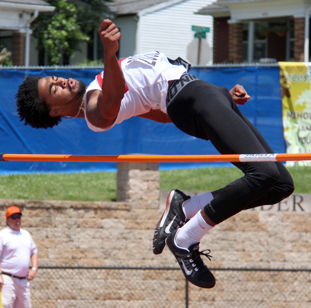 ROSS MARTIN/Citizen photo Park Hill senior clears the high jump bar during the Class 5 Missouri State Track and Field Championships' high jump competition Saturday, May 28 at Adkins Stadium in Jefferson City, Mo.