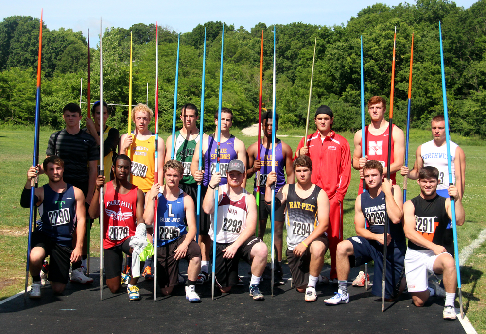 ROSS MARTIN/Citizen photo Park Hill's Grant Downes and Kolby Heinerikson were part of the first Class 5 boys javelin competition over the weekend.