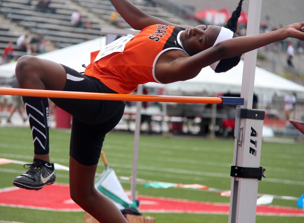 ROSS MARTIN/Citizen photo Platte County sophomore Tianna Daniel-Dalton clears the high jump bar Friday, May 27.