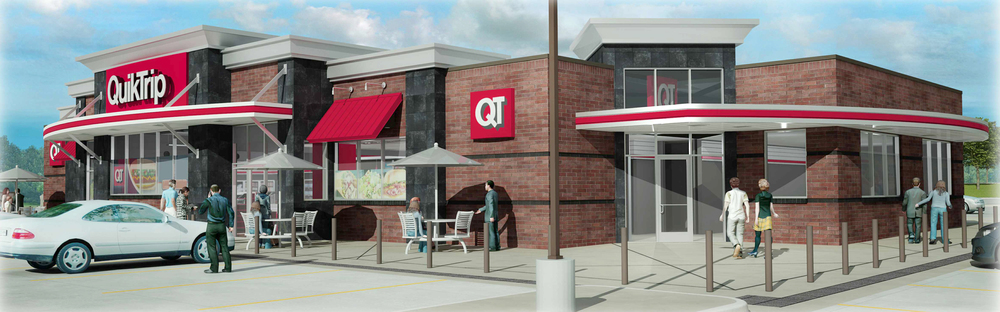 Contributed graphic This illustration shows an example of a QuikTrip Generation 3 store. The company plans to build a new store in Platte City with construction slated to begin soon. The old building and pumps will be razed after completion of the new store.