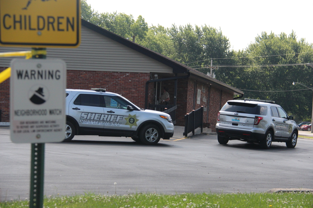 ROSS MARTIN/Citizen photo Law enforcement officials with the Platte County Sheriff's Office and the FBI responded to the Dearborn branch of Platte Valley Bank at about 9 a.m. on Monday, June 20 to reports of a robbery.