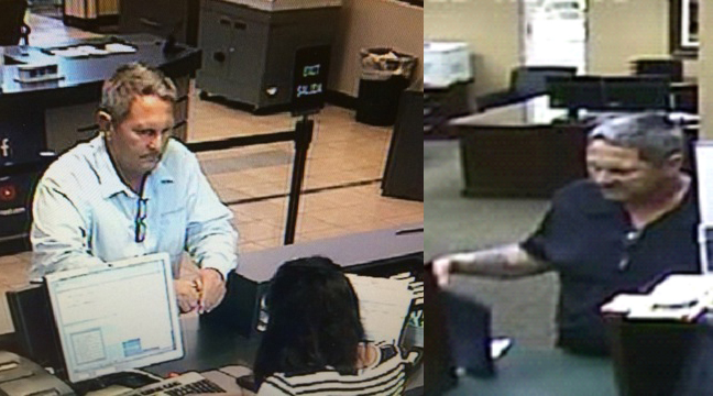 Contributed photos On the left is a surveillance image taken from a robbery of Arvest Bank in Tulsa, Okla. on Saturday, June 18. Jesse Bud Leaverton, 58, has been charged in connection with that crime. On the right is a surveillance image taken of the suspect who robbed Platte Valley Bank in Dearborn, Mo. on Monday, June 20. Leaverton is the likely suspect in that crime as well but has not been charged.