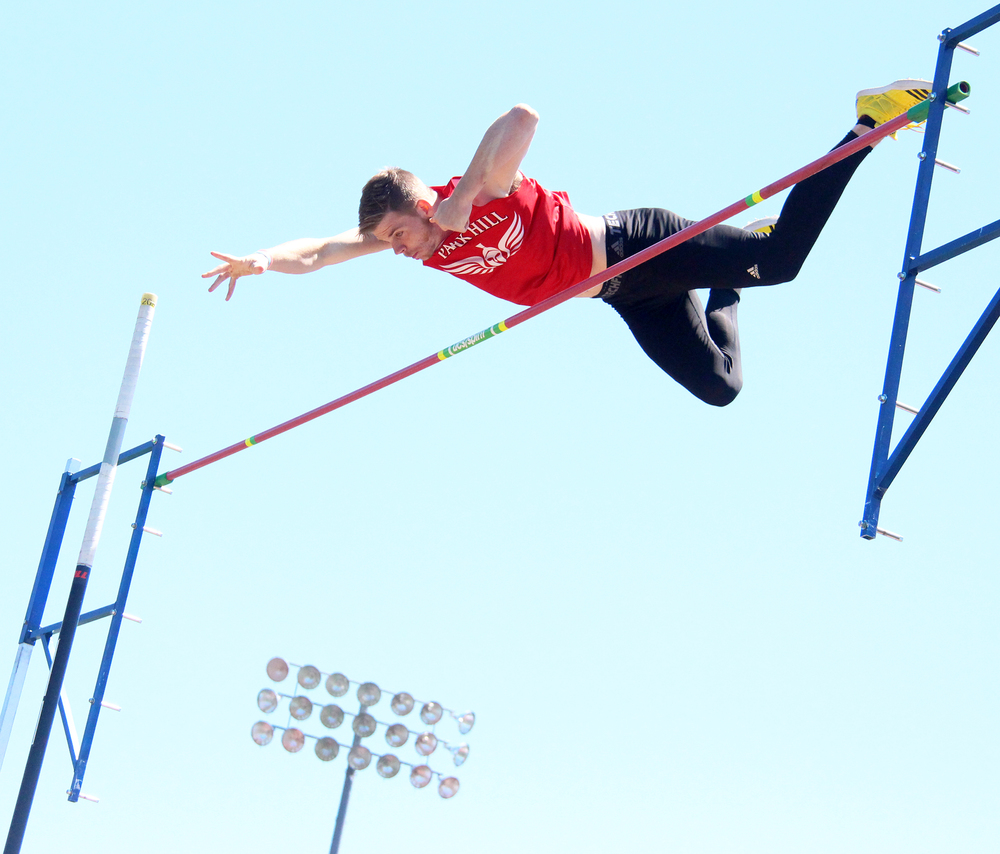 Citizen file photo Park Hill senior Chris Nilsen clears the bar during the Class 5 District 8 pole vault competition this past spring. Recently, he earned the Missouri Gatorade boys track and field athlete of the year honor.