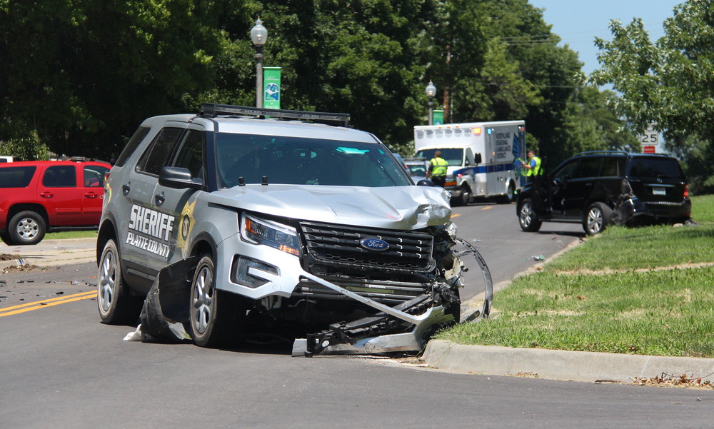 ROSS MARTIN/Citizen photo A Platte County Sheriff's Office patrol vehicle was involved in a two-vehicle accident Wednesday, July 20 on Fourth Street near the intersection with Blake Street. No injuries were reported, and the Missouri State Highway Patrol was assisting with the investigation.