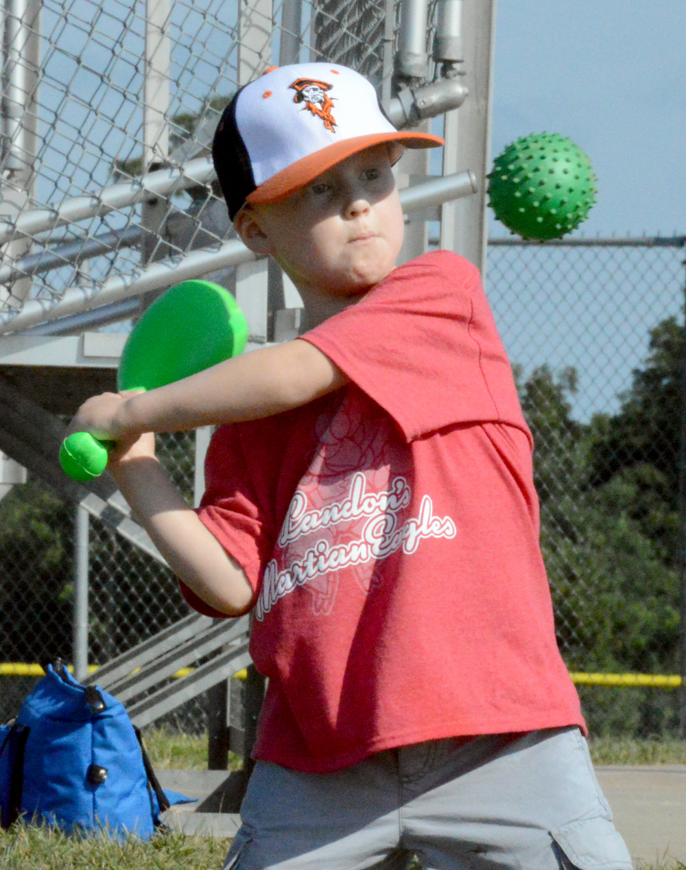 BRENT ROSENAUER/Citizen photo Landon Jaros, 5, takes a swing with a plastic bat Saturday, July 30 at Platte Ridge Park during the second annual Clifford Shanks Memorial Softball Tournament. Proceeds from the tournament went to Jaros' family to help with medical expenses.