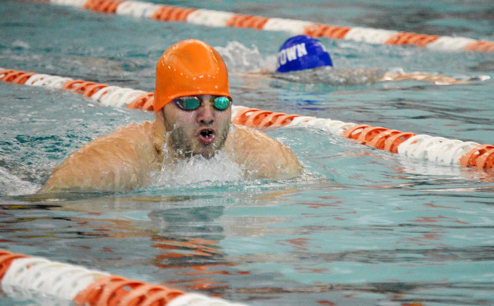 BRENT ROSENAUER/Citizen photo Platte County senior Jerry Orozco comes up for a breath while swimming in the Platte County Invitational on Saturday, Aug. 27 at Platte County Community Center North.