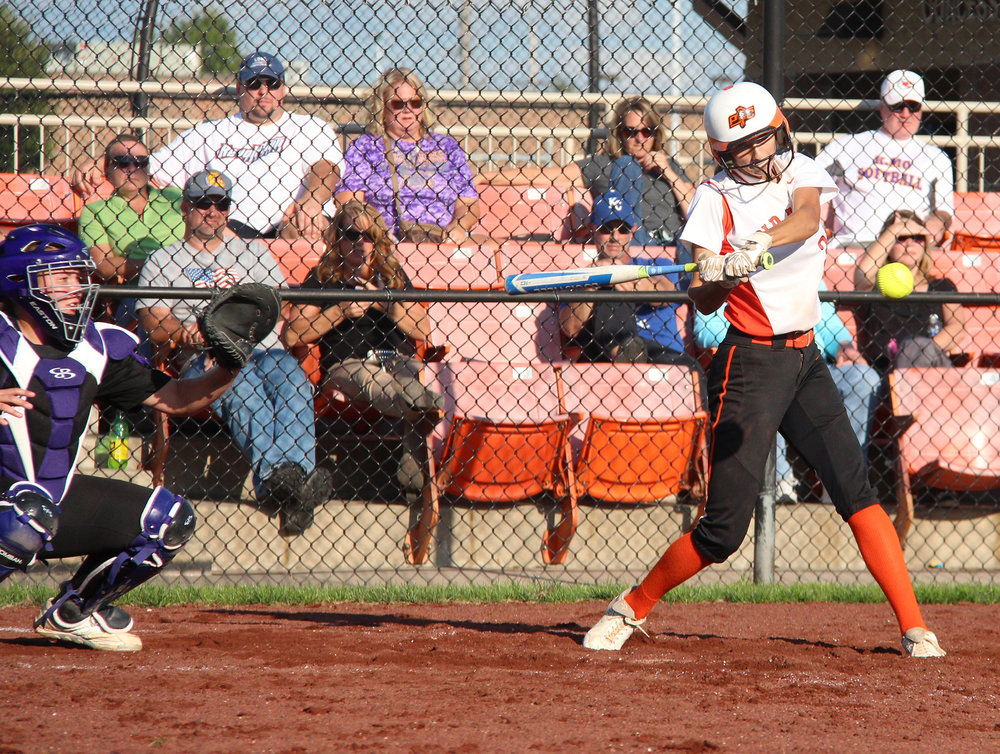 ROSS MARTIN/Citizen photo Platte County senior shortstop Tori Farr prepares to smack a single during a game against Kearney on Thursday, Sept. 1 at Platte County High School.