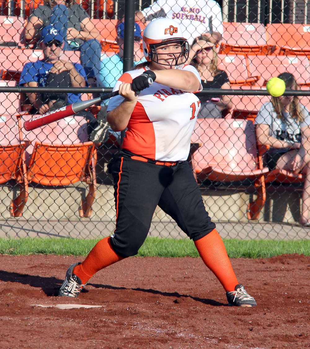 ROSS MARTIN/Citizen photo Platte County senior catcher Anna Townsend takes a swing against Kearney on Thursday, Sept. 1 at Platte County High School
