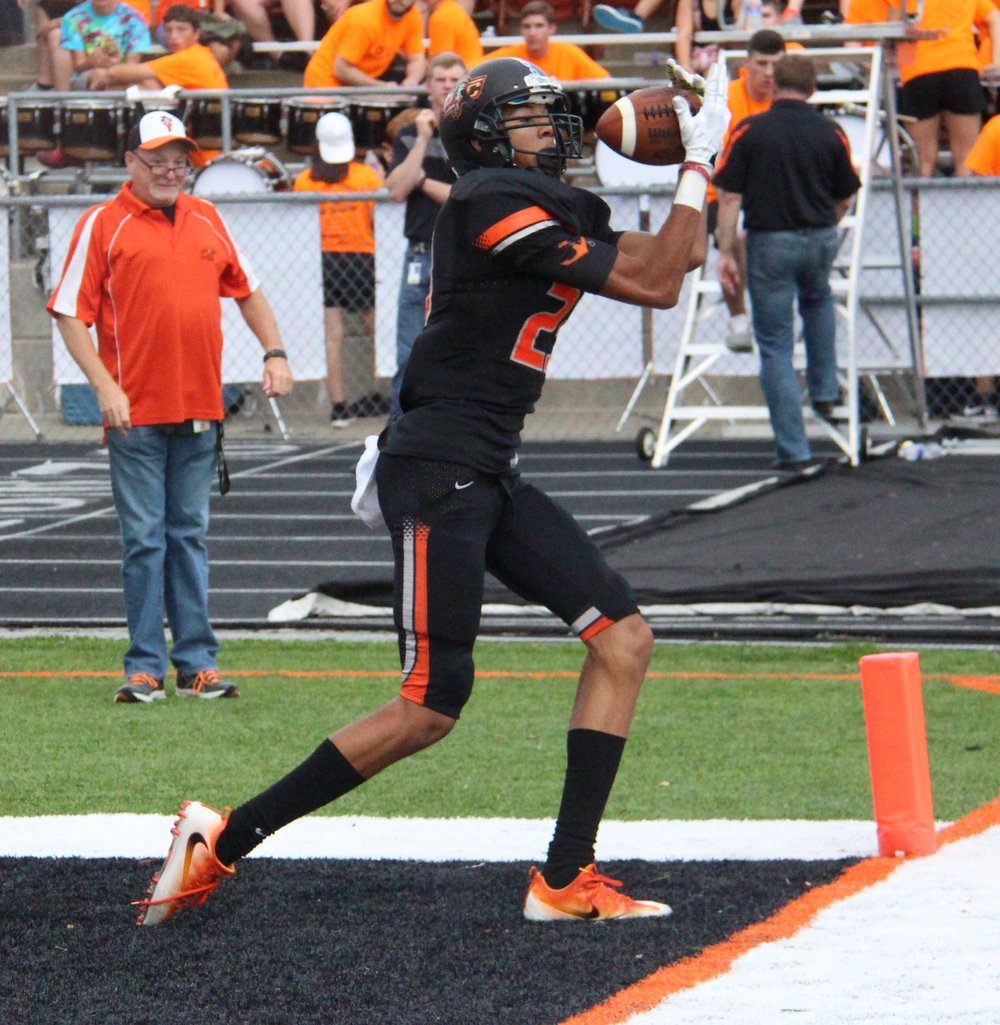 ROSS MARTIN/Citizen photo Platte County junior wide receiver John Watts appears to haul in a touchdown Friday, Sept. 9 against Harrisonville at Pirate Stadium. The catch was ruled out of bounds.