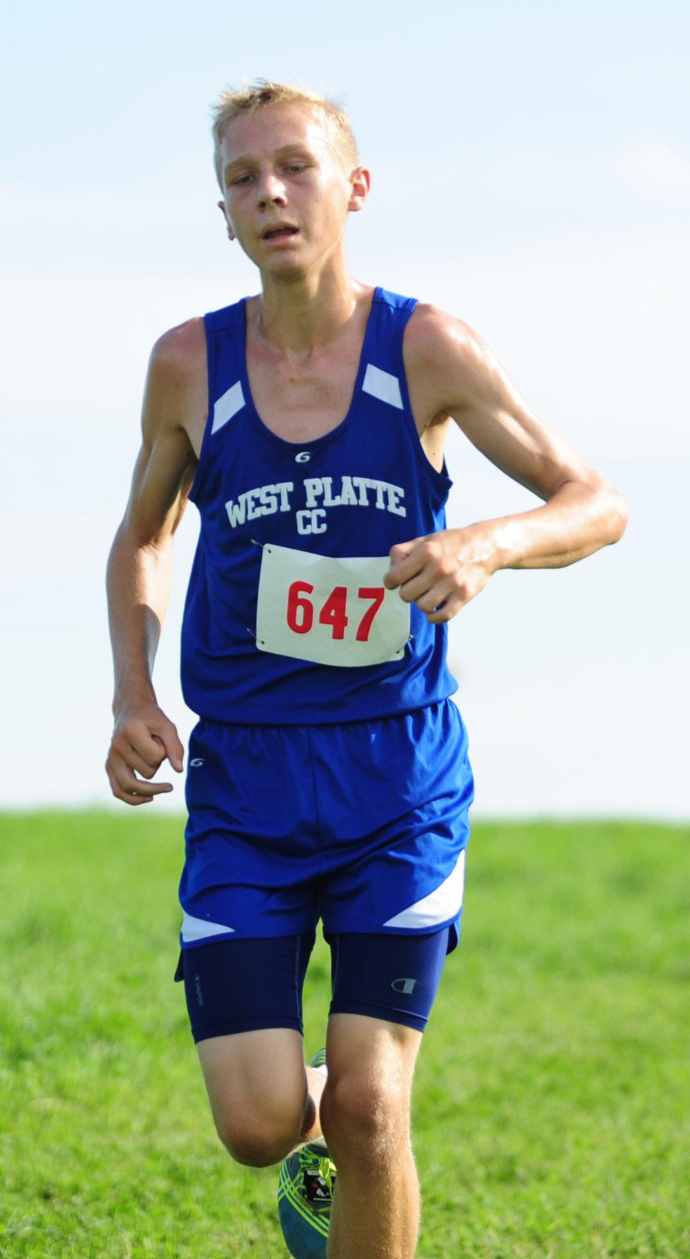 NICK INGRAM/Citizen photo West Platte sophomore Max Davies runs at Platte Ridge Park on Thursday, Sept. 15 in the Platte County Invitational.