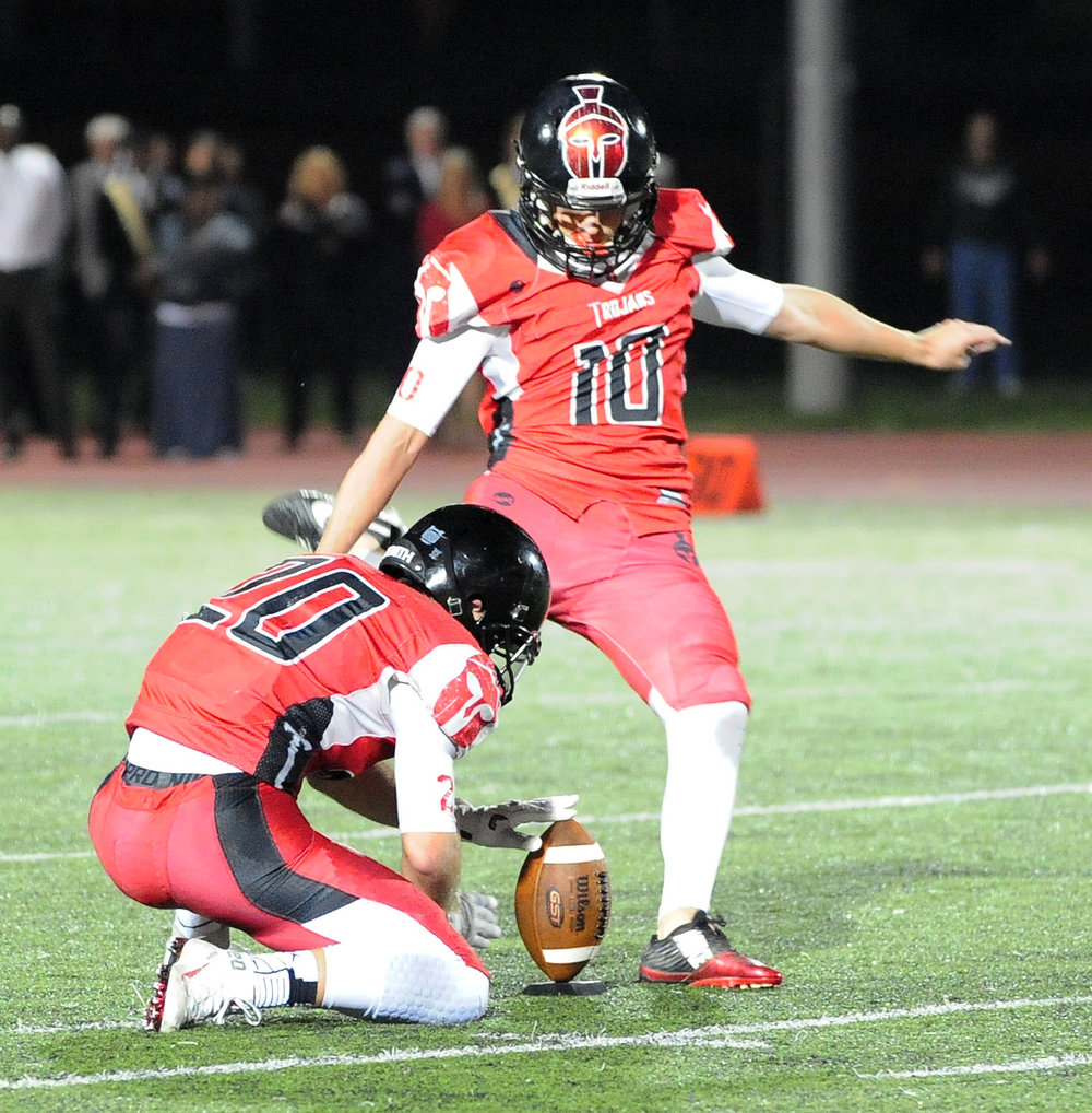 NICK INGRAM/Citizen photo Park Hill senior kicker Parker Sampson prepares to kick a 51-yard field goal on Friday, Sept. 16 against Lawrence Free State (Kan.) at Park Hill District Stadium in Kansas City, Mo.