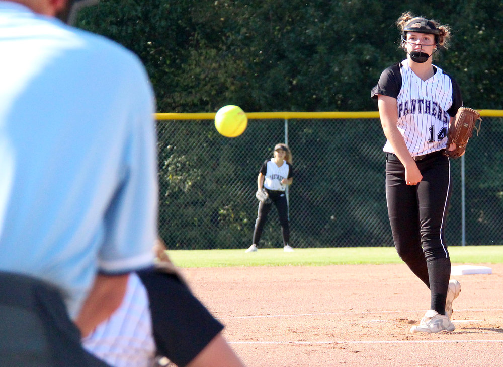 ROSS MARTIN/Citizen photo Park Hill South sophomore pitcher Gracie Dieleman delivers a pitch against Truman on Thursday, Sept. 22 at Park Hill High School in Riverside, Mo.