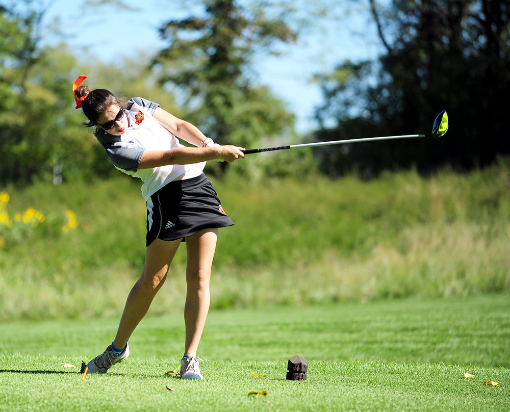 NICK INGRAM/Citizen photos Platte County sophomore Jessalyn Shipp watches a tee shot during the Class 2 District 8 tournament Monday, Sept. 26 at Shoal Creek Golf Course in Kansas City, Mo.