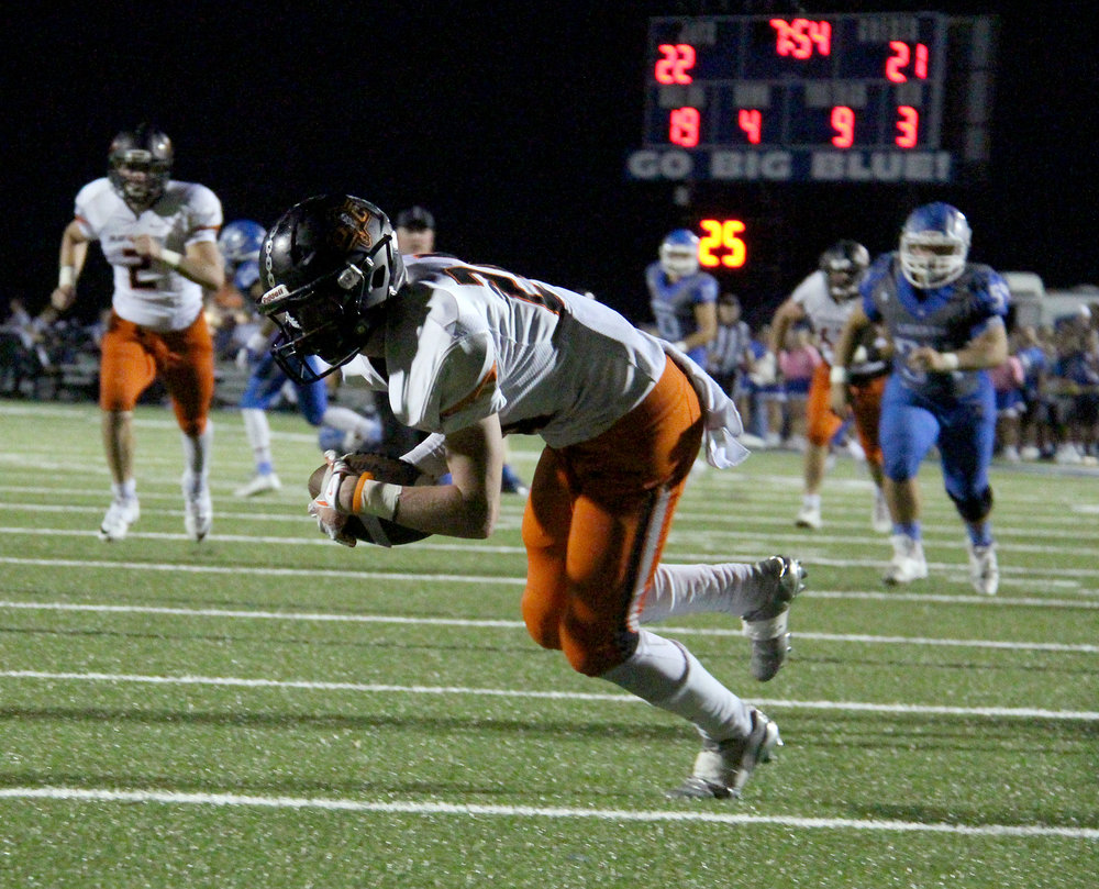 ROSS MARTIN/Citizen photo Platte County junior defensive back JP Post falls on a punt he blocked for a touchdown Friday, Sept. 23 in the second half against Liberty at Liberty High School in Liberty, Mo.