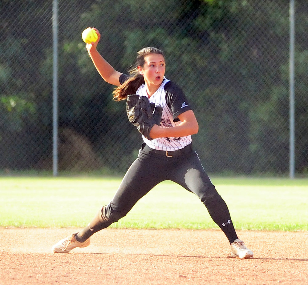 NICK INGRAM/Citizen photo Park Hill South sophomore Kate Kobayashi throws to first in a game against Park Hill on Monday, Oct. 3 at Park Hill South High School in Riverside, Mo.