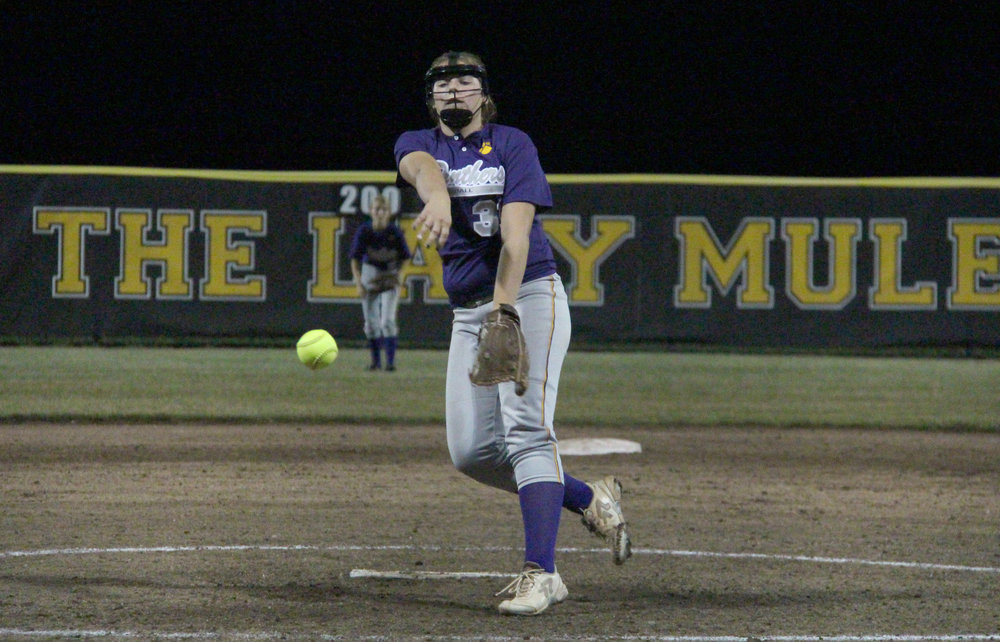 ROSS MARTIN/Citizen photo North Platte pitcher Jordyn Smith, a freshman, delivers a pitch in the late innings against Mid-Buchanan.