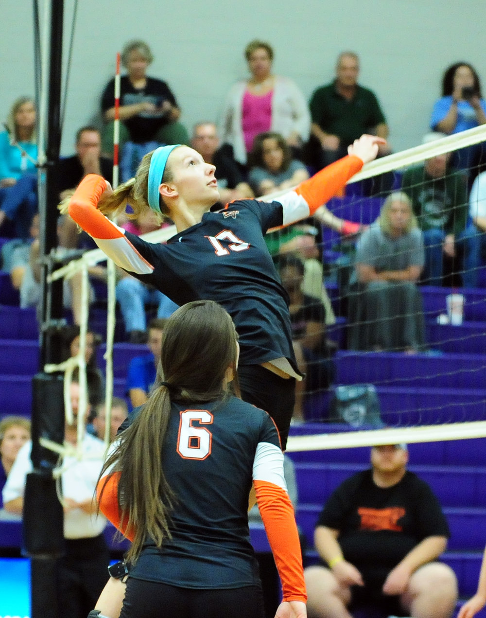 NICK INGRAM/Citizen photo Platte County senior Hannah Kunels goes up for a spike in the season-ending loss to Staley in a Class 4 District 16 matchup Monday, Oct. 17 at Park Hill South High School in Riverside, Mo.
