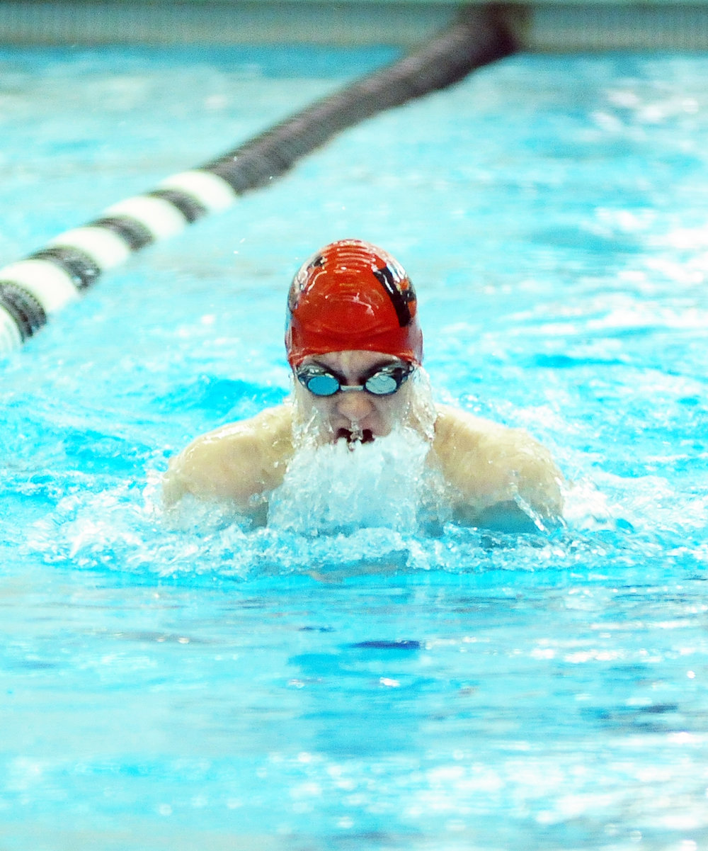 NICK INGRAM/Citizen photo Park Hill senior Danny Jones comes up for air in the 200 yard medley relay at the Suburban Conference Gold Division Championships on Saturday, Oct. 22 at Lee's Summit Aquatic Center in Lee's Summit, Mo.