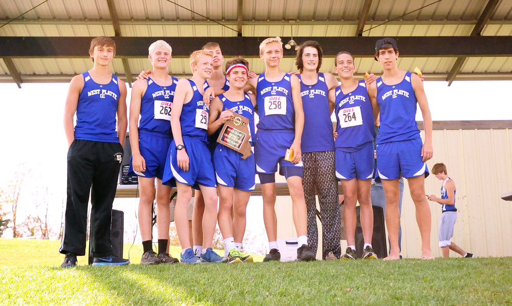 NICK INGRAM/Citizen photo The West Platte boys cross country team won a 17th consecutive district title, topping the Class 1 District 8 field on Saturday, Oct. 29 in Maryville, Mo.