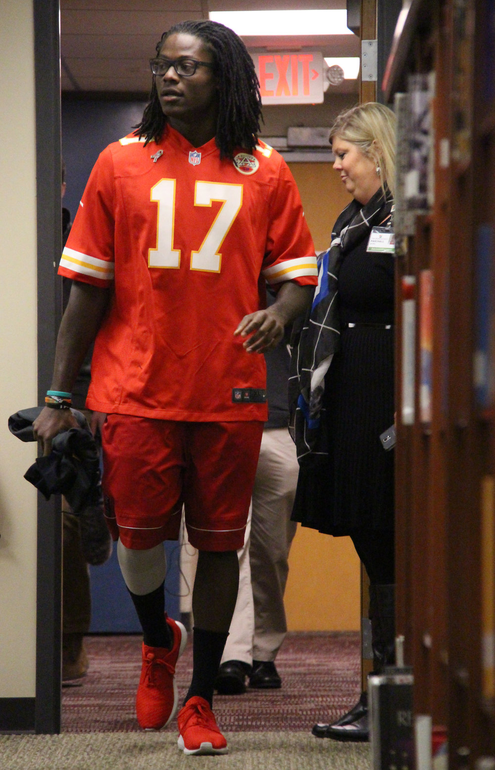 ROSS MARTIN/Citizen photo Kansas City Chiefs wide receiver Chris Conley enters the media center at Plaza Middle School on Monday, Nov. 7 in Kansas City, Mo.