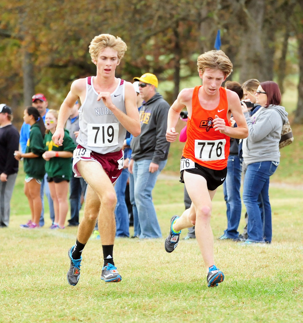 NICK INGRAM/Citizen photo Platte County sophomore Jackson Letcher (776) stays with the pack during at the start of the Class 4 Missouri State Cross Country Championship on Saturday Nov. 5 at the Oak Hills Golf Center in Jefferson City, Mo.