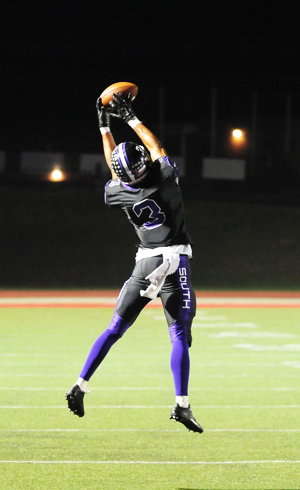 NICK INGRAM/Citizen photo Park Hill South senior wide receiver Jake Springer leaps for a catch during the Class 5 District 7 championship game against Fort Osage on Friday, Nov. 4 at Park Hill District Stadium in Kansas City, Mo.