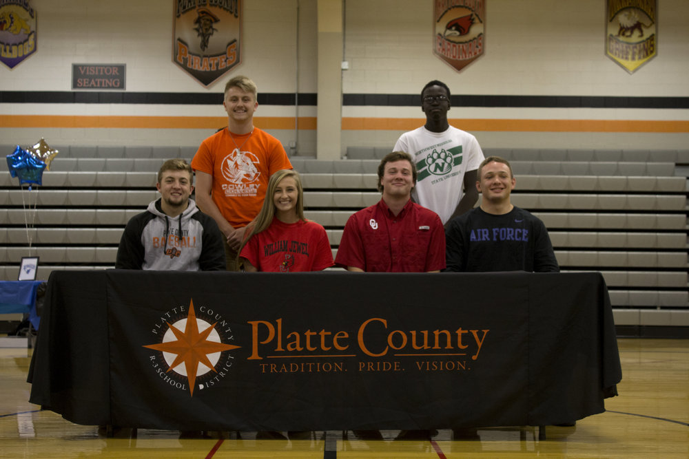 AMANDA SULLIVAN/Citizen photo Platte County seniors, from left, Colton Horn, Jared Wilson, Tori Farr, Justin Mitchell, Mac Leet and Casey Jumps were honored during an assembly at the high school on Wednesday, Nov. 16.