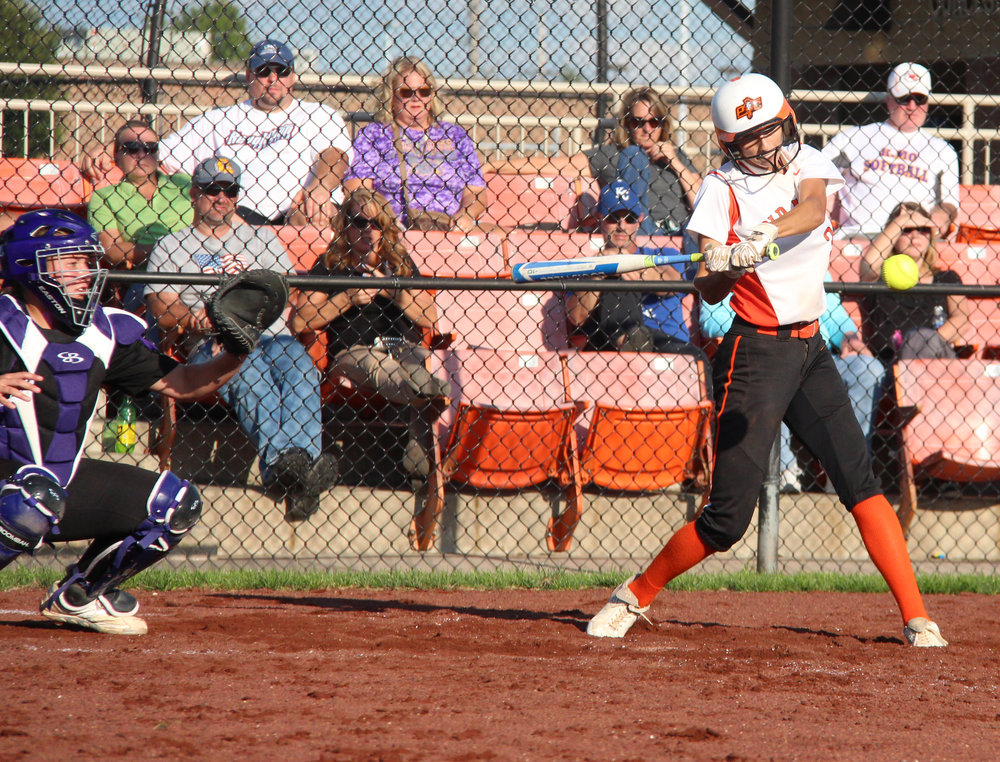 Platte County senior shortstop Tori Farr takes a swing in a game this past fall at Platte County High School.