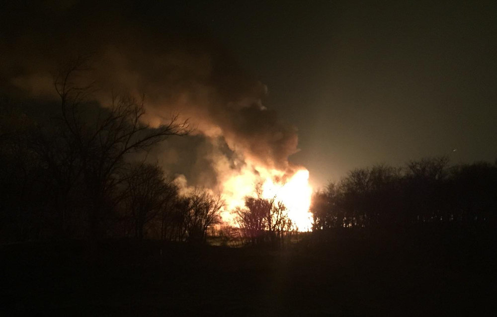 Platte County Sheriff's Office photo A large fireball can be seen in this image posted to the Platte County Sheriff's Office's Twitter account on Tuesday, Nov. 29. According to officials, a pipeline explosion on a rural property in eastern Platte County led to the fire. No structures were involved, and no injuries were reported.