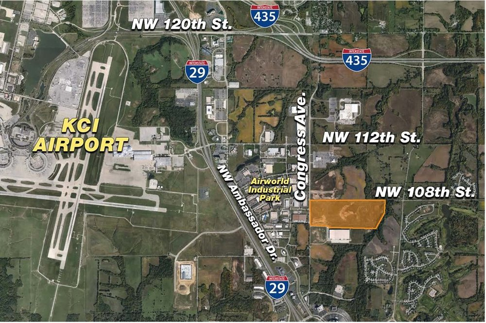 Contributed graphic The shaded orange area on this map shows the Skyport Industrial Park, just south of Ferrelview, Mo. in Kansas City, Mo. Last week, CVS Pharmacy announced plans to build a new distribution center in the space that will create about 360 new jobs in Platte County.