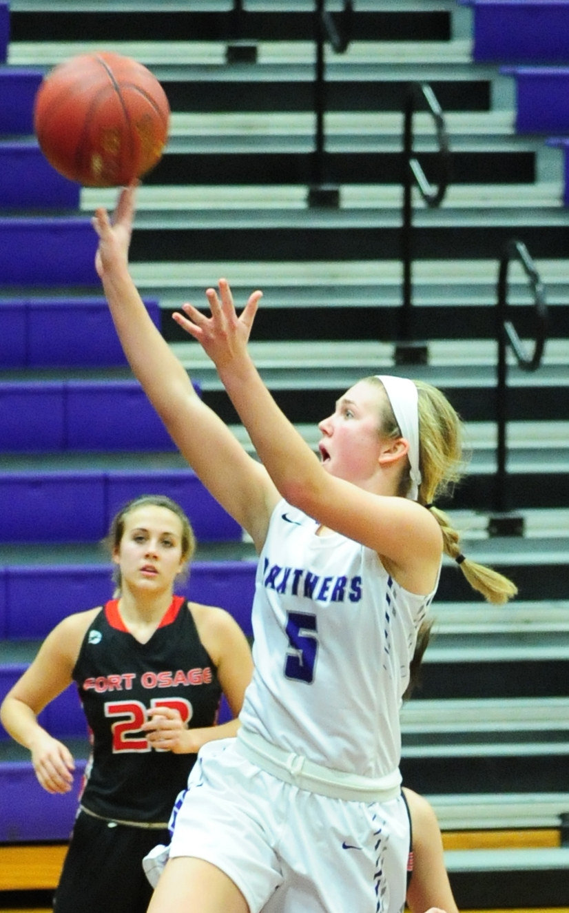 NICK INGRAM/Citizen photo Park Hill South senior guard Grace Cunningham (5) makes a shot during a game against Fort Osage on Monday, Dec. 19 at Park Hill South High School in Riverside, Mo.