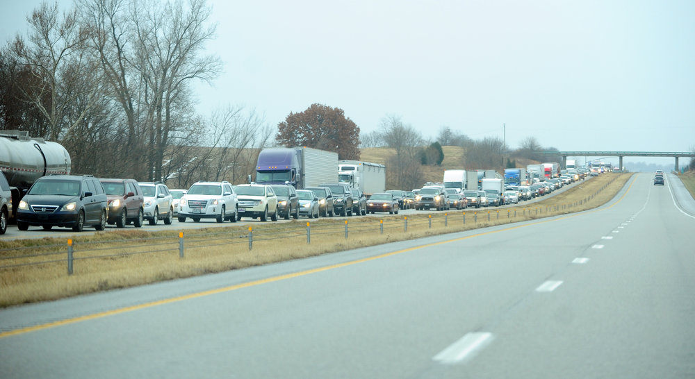 NICK INGRAM/Citizen photo Traffic backed up for miles on the morning of Friday, Dec. 23 on Interstate 29 in Platte County after authorities engaged in a standoff with an allegedly armed suspect at a nearby rest area. All lanes of traffic in both directions were shut down from Camden Point, Mo. to Dearborn, Mo. for more than three hours at the start of a busy holiday weekend for travel.
