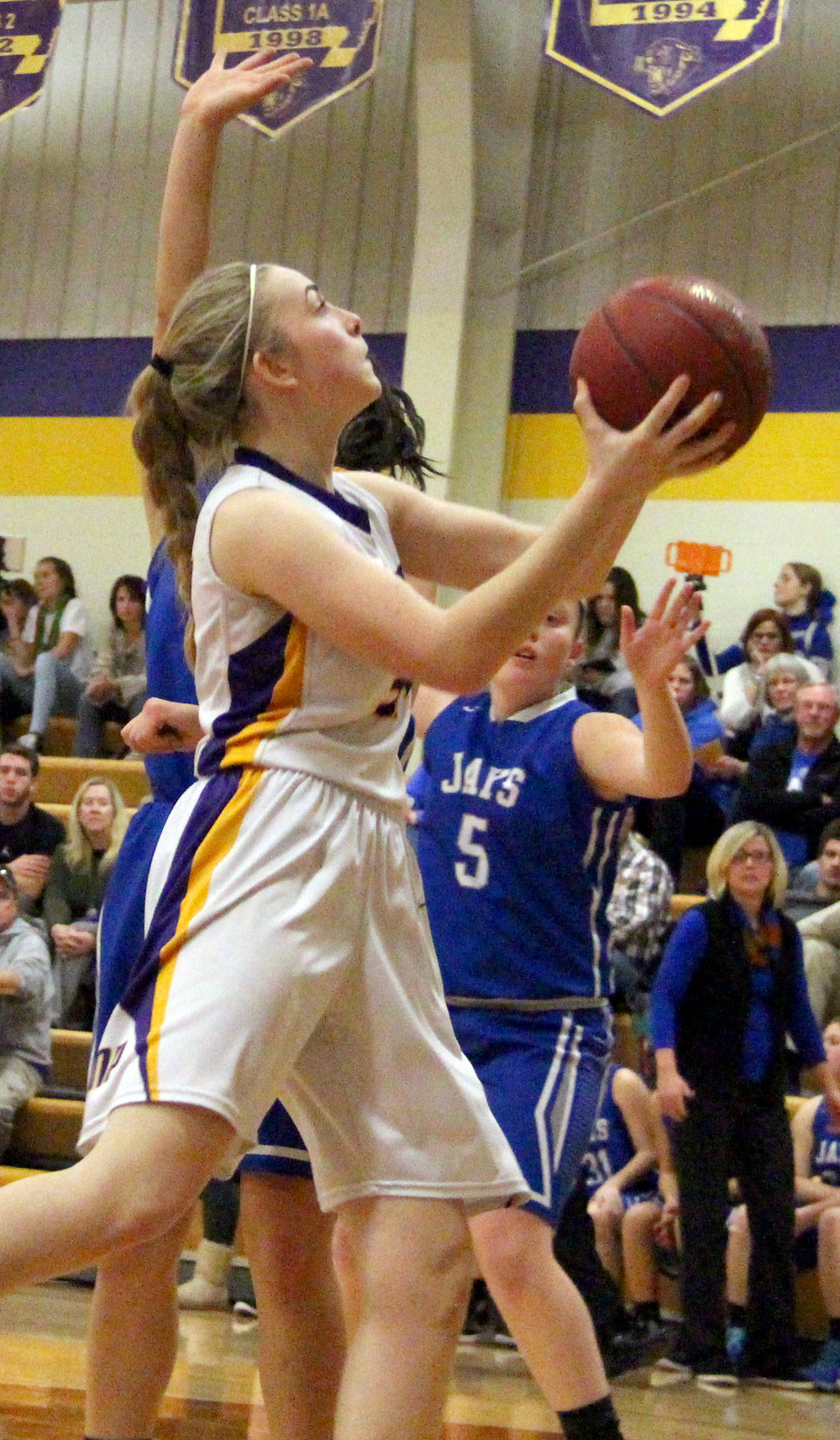 ROSS MARTIN/Citizen photo North Platte sophomore Janell Manville goes up for a layup against West Platte on Friday, Jan. 6 at North Platte High School in Dearborn, Mo.