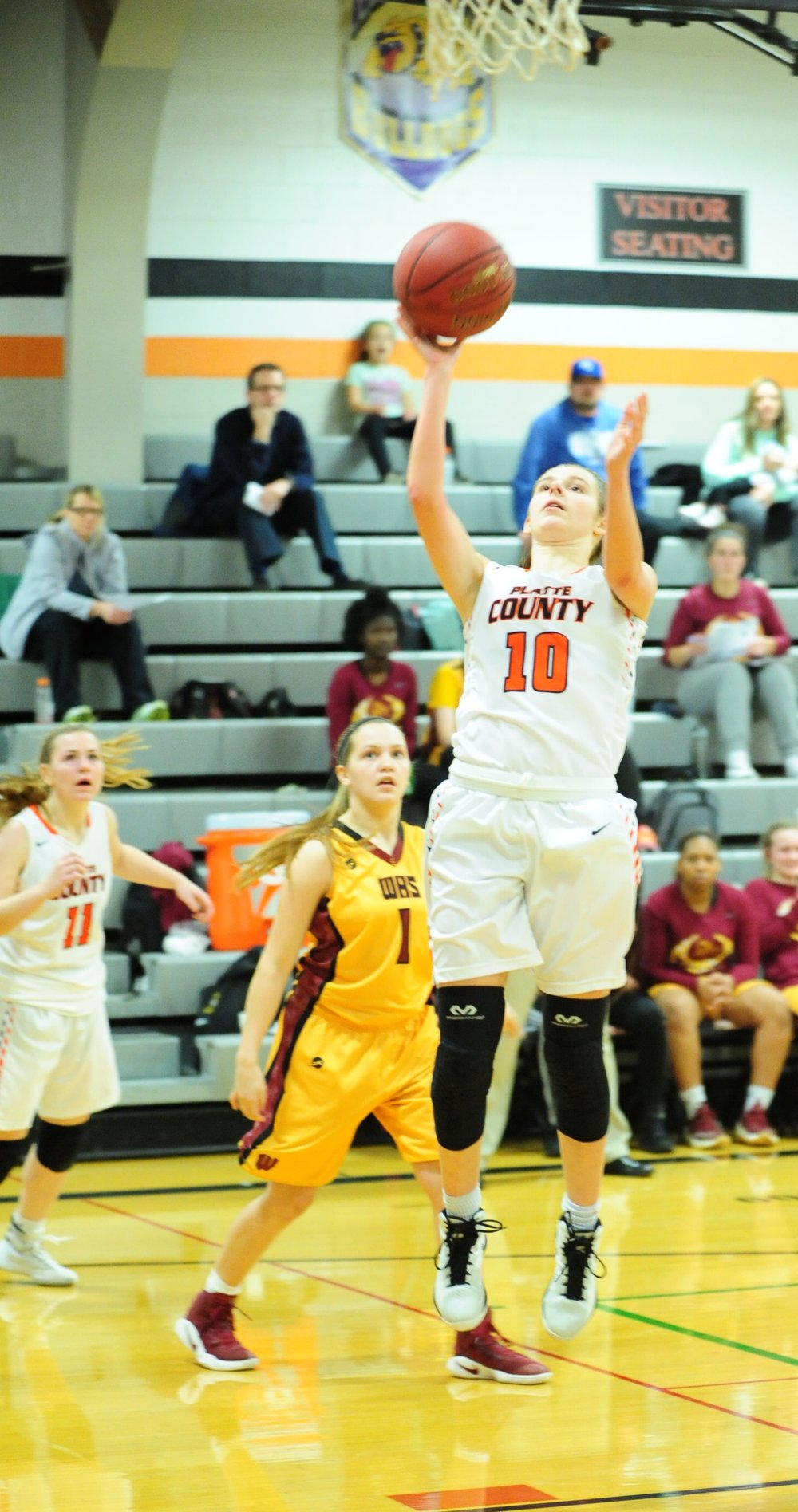 NICK INGRAM/Citizen photo Platte County guard Hannah Valentine (10) goes in for a layup against Winnetonka on Monday, Jan. 30 at Platte County High School.