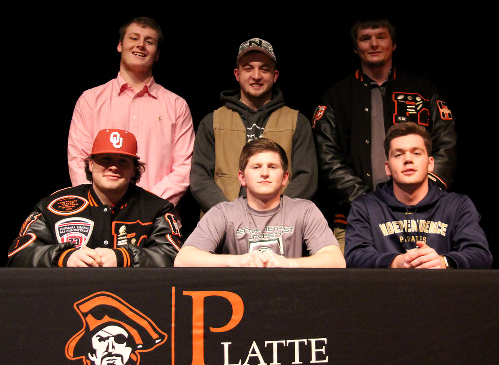 ROSS MARTIN/Citizen photo Platte County senior baseball players (front row, from left) Justin Mitchell, Dillon Doll and Drew Parmeley and (back row, from left) Austin Gammill, Colton Horn and Grant Carver have all signed to play baseball in college.