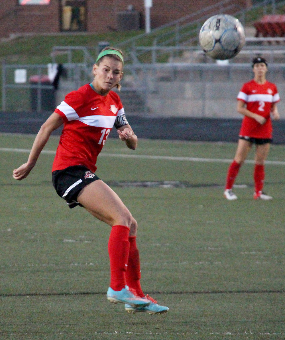 ROSS MARTIN/Citizen photo Park Hill senior Jenna Winebrenner takes a shot in a game against Platte County last spring.