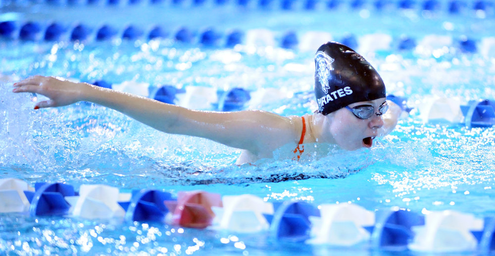 NICK INGRAM/Citizen photo Platte County senior Hailee Baer competes in the 200-yard individual medley during the Suburban Conference Blue Division championships on Saturday, Feb. 4 in Gladstone, Mo.