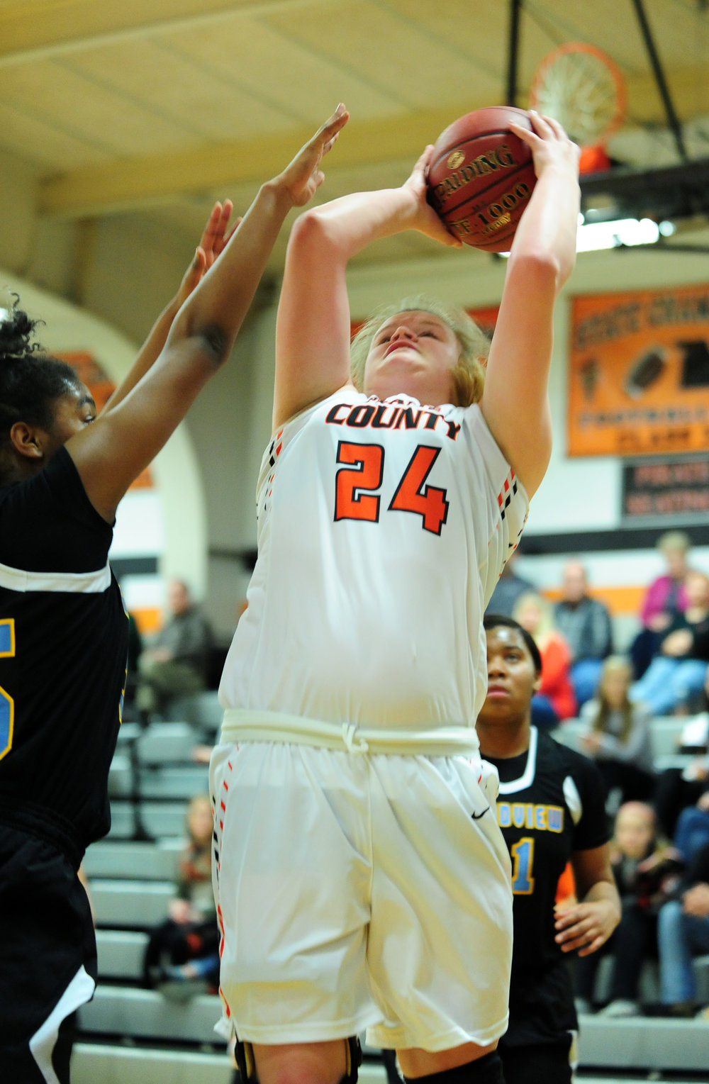NICK INGRAM/Citizen photo Platte County senior Liz Peterson goes up for a shot against Grandview on Thursday, Feb. 9 at Platte County High School.