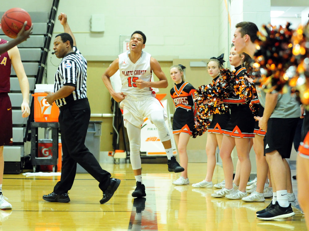 NICK INGRAM/Citizen photo Platte County junior Deiondre Ragsdale reacts after hitting a shot and drawing a foul late in a win against Winnetonka on Friday, Feb. 17 at Platte County High School.