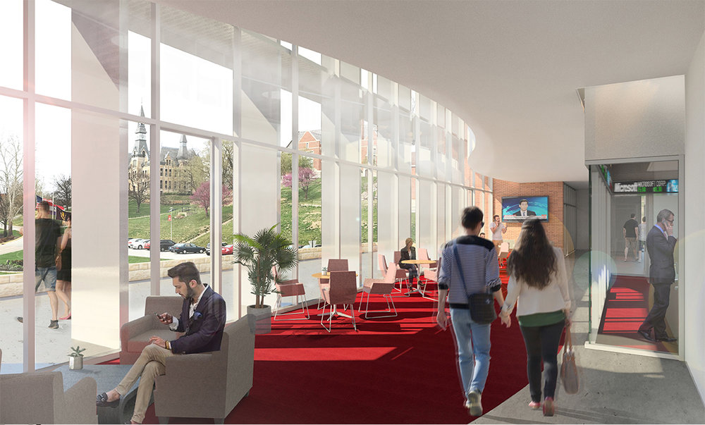 HELIX ARCHITECTURE + DESIGN/Contributed photo A rendering of the interior of the proposed 20,500-square-foot Robert W. Plaster Free Enterprise Center at Park University in Parkville, Mo. that could begin construction in 2018.
