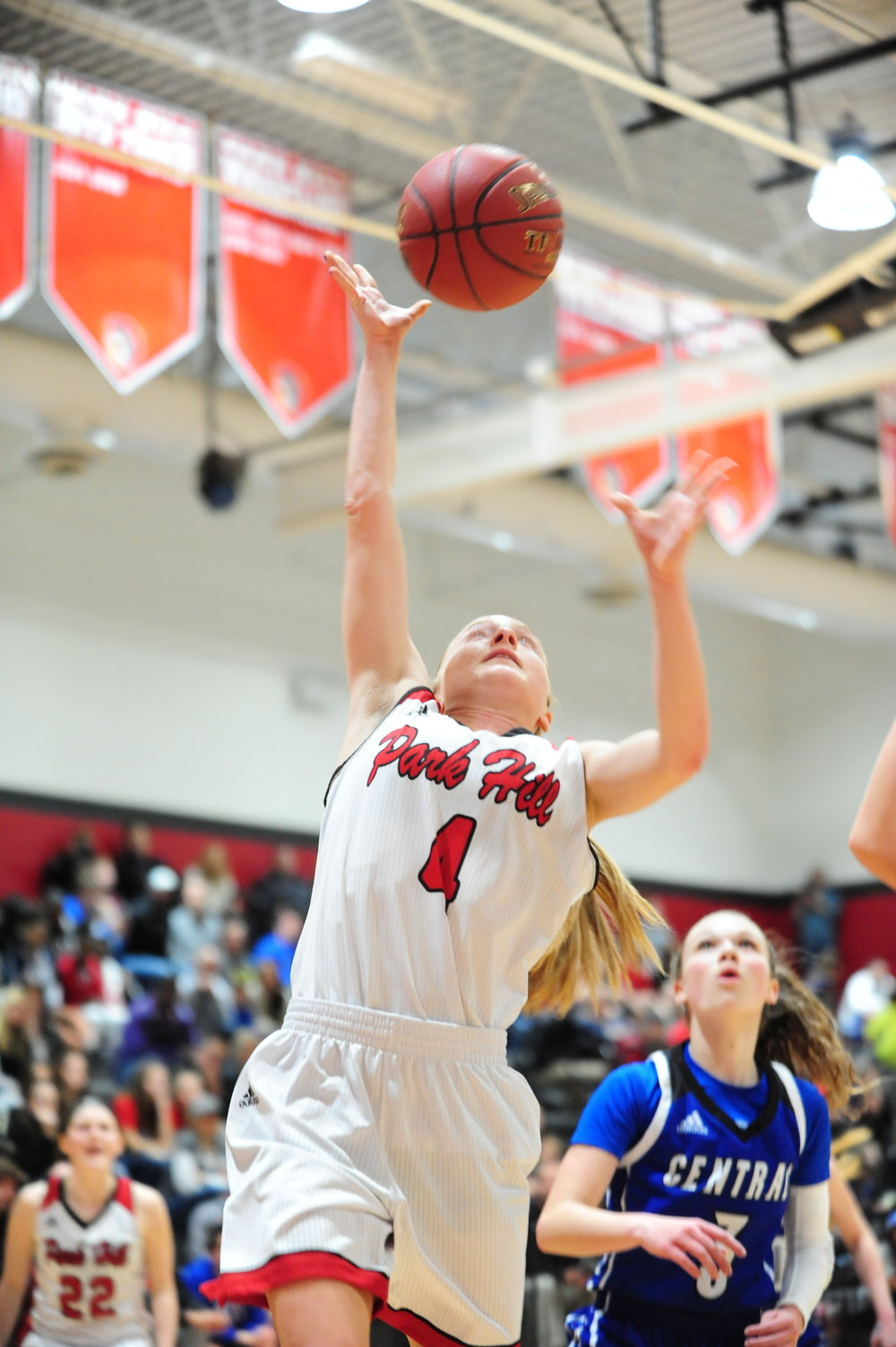NICK INGRAM/Citizen photo Park Hill junior Ali Walls (4) goes up for a shot against St. Joseph Central in the Class 5 District 16 championship game Thursday, March 2 at Park Hill High School in Kansas City, Mo.