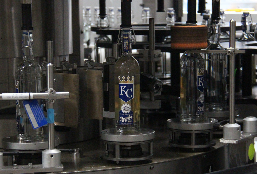 ROSS MARTIN/Citizen photos Production began this week on packaging 360 Vodka's limited release 2017 Kansas City Royals bottle at McCormick Distillery in Weston, Mo. 360 Vodka, official vodka of the Royals, has produced a new bottle each of the first three years of a five-year partnership.