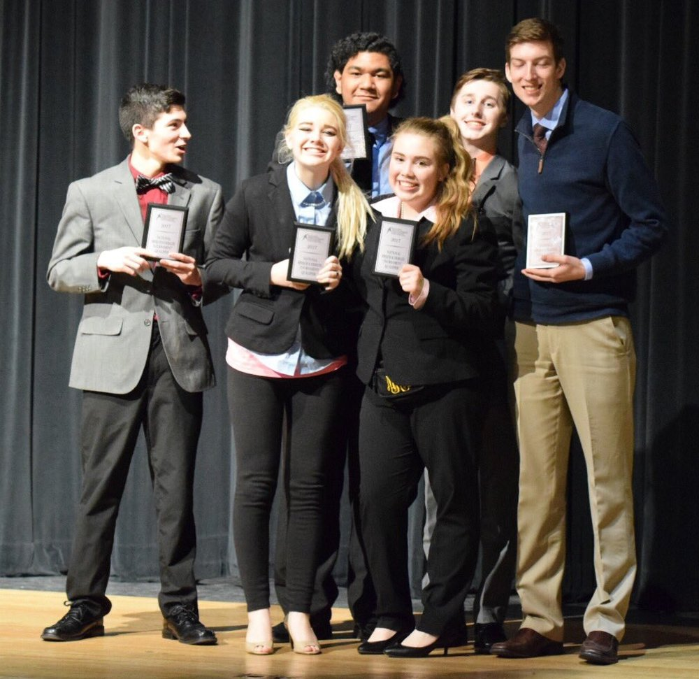 Contributed photo Jake McFee, Matt Hayes, Ethan Simon, Maya Krump, Parker Young, Jackson Elder, Ben Tuimauga and Lauren Szala of the Park Hill Speech and Debate team all qualified for the National Speech and Debate Association national tournament. McFee and Hayes are not pictured here.