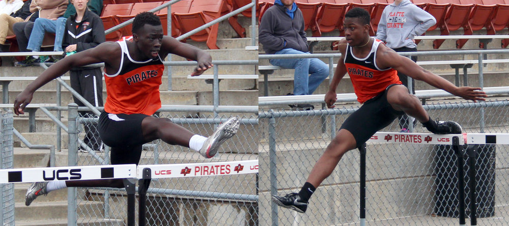 ROSS MARTIN/Citizen photos Platte County seniors Okwar Jale, left, and Kevin Neal, right, alternate legs of the 110-meter shuttle hurdle relay during the Pirate Relays on Monday, April 3 at Pirate Stadium. The longtime friends enjoyed the rare opportunity to compete as teammates in the non-traditional event.